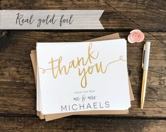 Gold Foil Wedding Thank You Cards Set. Customized Wedding Thank You's. Real Gold Foil Thank You Cards. Wedding Gift. Wedding Statonery