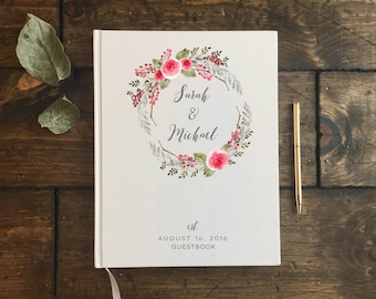 Wedding Guest Book. Guestbook Wedding. Floral Rustic Wedding Journal. Wedding Notebook. Custom Wedding Guest book