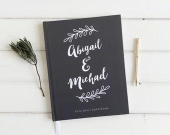 Modern Wedding Guest Book. Wedding Guestbook. Dark Gray Custom Wedding Book. Wedding Keepsake Journal. Wedding Book.