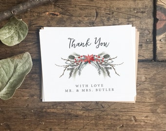 Wedding Thank You Cards. Customized Thank You Cards. Christmas Theme Thank you Cards. Custom Thank You Cards For Wedding. Holiday Wedding