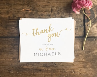 Wedding Thank You Cards. Gold Modern Wedding Thank You Note Cards. Custom Wedding Gift. Wedding Cards. Custom Wedding Cards