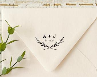 Wedding Logo Stamp. Custom Wedding Gift Stamp for Favors or Invitations. Laurel Wreath Wedding Stamp. Bridal Shower Wedding Stamp.