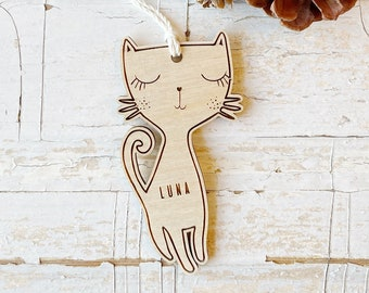 Cat Custom Christmas Ornament. Personalized gift. Custom Personalized Kitty Ornament. Stocking Stuffer Gift. Cat lover gift.
