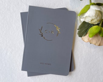 FOILED Wedding Vow Books Set of 2. Gold foil wedding monogram vow book set. Personalized Gift