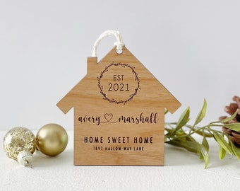 Wooden Personalized New Home Ornament For Couple. First Home Christmas Ornament Keepsake Gift. Custom First Home Gift. Housewarming Gift.