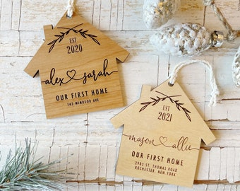 Our First Christmas In Our New Home Wooden Personalized Ornament. Realtor Client Gift. Custom New Home Ornament for Christmas.