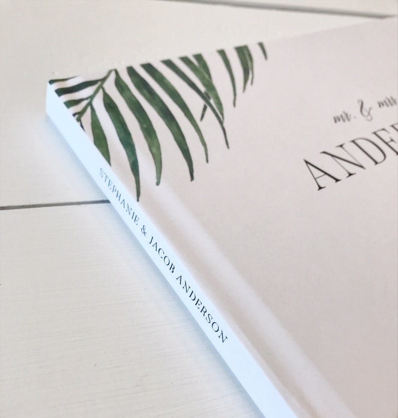 Tropical Palm Leaves Wedding Guest Book Custom Personalized Palm Leaves Guest Book