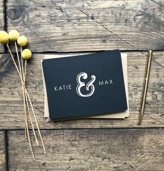 Black and White Thank You Cards. Custom Wedding Thank You Cards. Wedding Gift. Black Chalk Board Thank You Cards. Custom Wedding Cards.