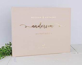 Gold Foil Guest Book. Blush Pink Gold Foil Wedding Guestbook. Custom Wedding Guestbook. Real Gold Foil Guestbook.Wedding Journal Photo Album