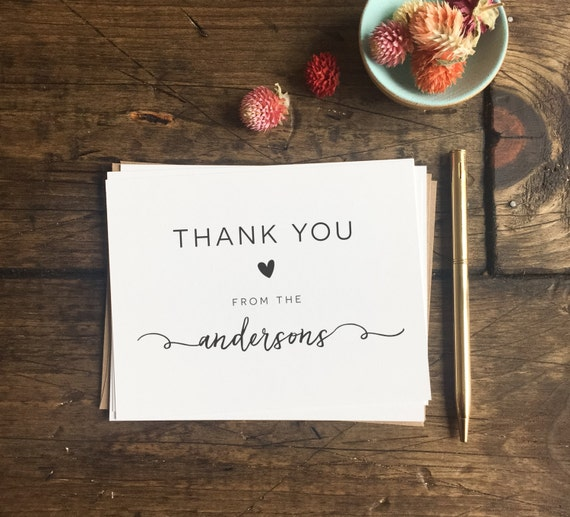 Wedding Thank You Cards Custom Wedding Cards Wedding Gift Etsy