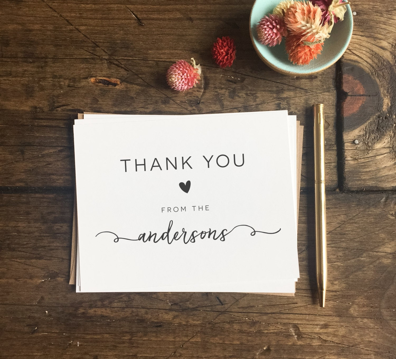 Wedding Thank You Cards Custom Wedding Cards Wedding Gift Etsy