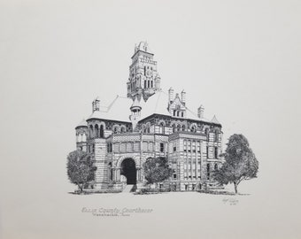 "Ellis County Courthouse Print by  Hugh Riker - 9"" x 12"""