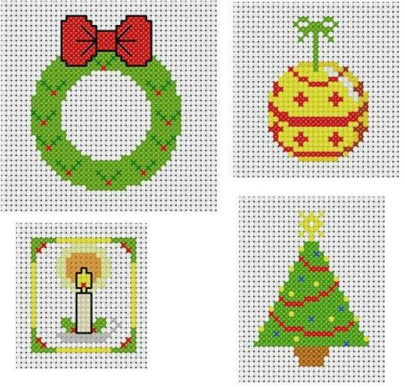 Four Simple Christmas Cross Stitch Patterns For Card