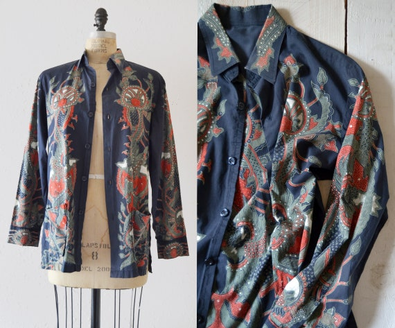 1970s Cotton Shirt Jacket / vintage chore coat