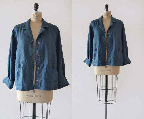 1990s Linen Chore Jacket / vintage french blue cho