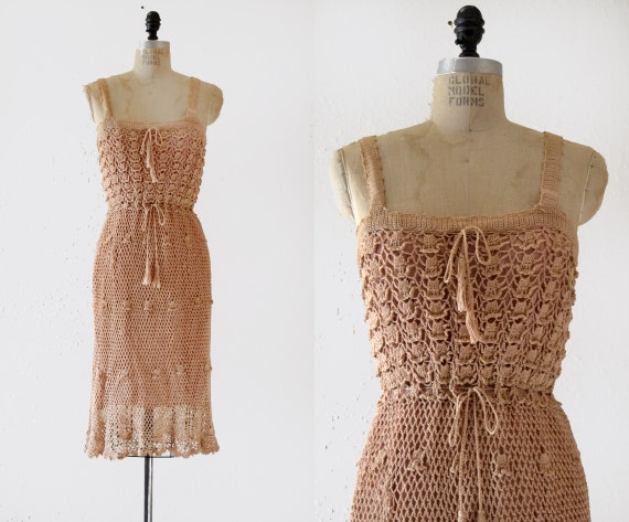1970s Cotton Crochet Vintage Midi Dress