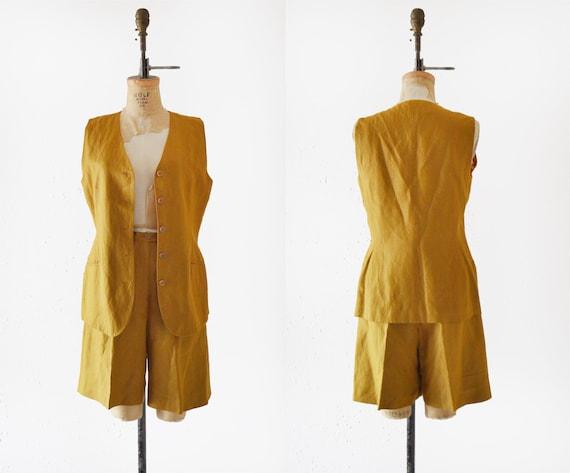 1980s Anne Klein Linen Set / vintage shorts and ve