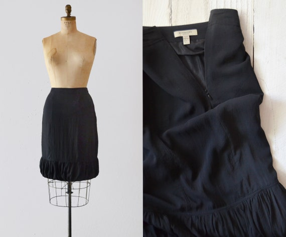 Burberry Silk Skirt / vintage black silk skirt