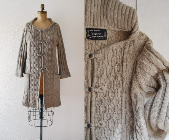 1970s Grey Wool Sweater Coat / vintage knit sweate