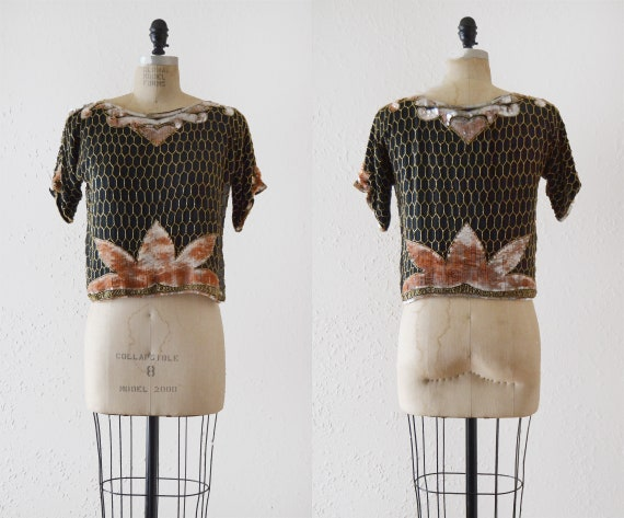 1970s Sequin Crop Blouse / vintage heart beaded to