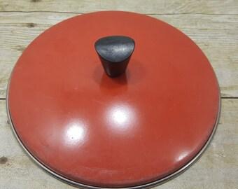 Vintage pot lid, tomato red/orange, vintage lid, 1970s