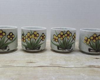 Japanese Stoneware Tea cups, Otigiri, Mid century, Yellow flowers, Random goods vintage