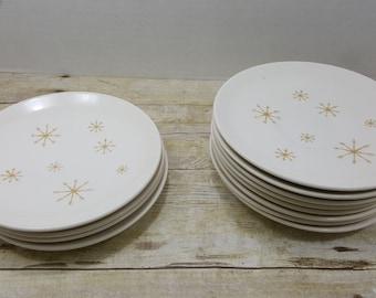 Star Glow Mid Century Royal china, dessert plates and saucers, vintage mid century starburst gold star