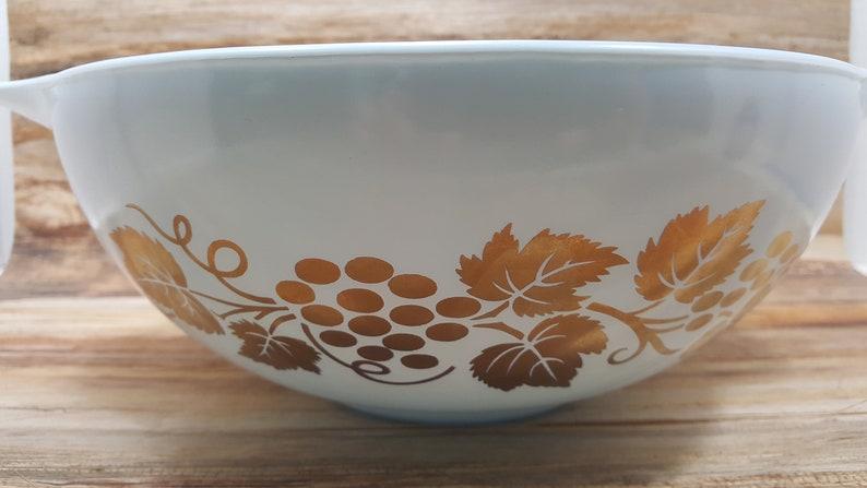 1970s vintage pyrex Golden Grapes Pyrex with Delphite blue cinderella bowl
