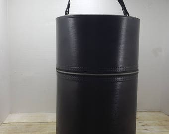 Vintage Hat Box, Wig Box, Round Luggage, 1960s, black hat box, mid century
