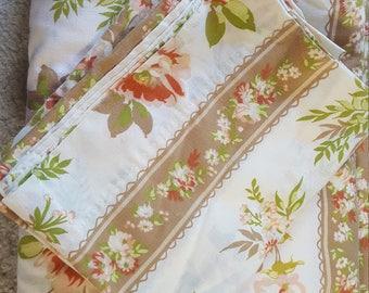 Vintage Queen Sheet set, no fitted sheet, vintage bedding, vintage sheets