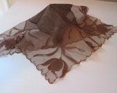 BROWN NET EMBROIDERED Handkerchief