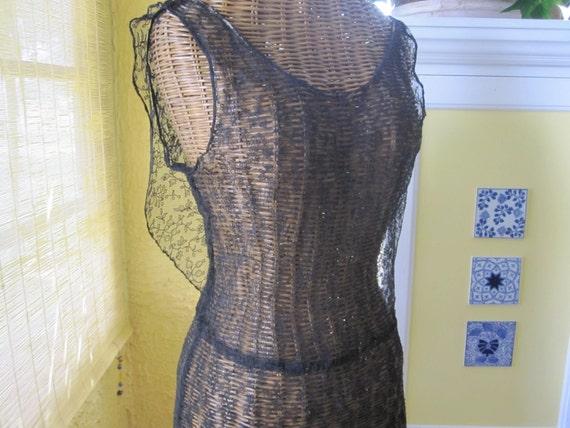 1930s BLACK LACE DRESS - image 3