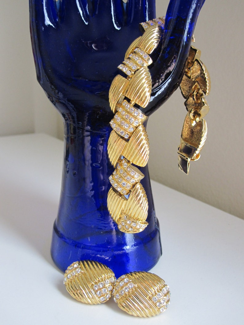 2 PC JOAN RIVERS Classics Collection Gold Rhinestone Bracelet and Earrings