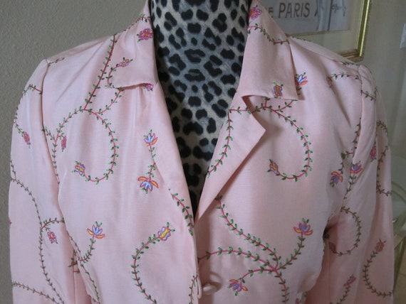 PINK EMBROIDERED SILK Coat - image 7