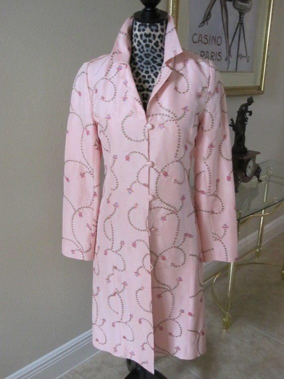 PINK EMBROIDERED SILK Coat