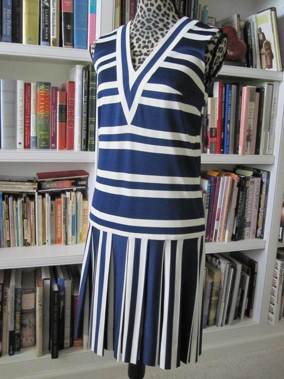 NAVY Blue STRIPED JERSEY Dress