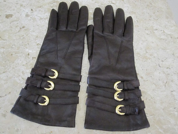 BROWN LEATHER GLOVES With Gold Buckles Size 7