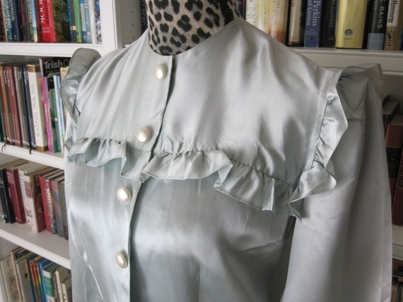 1930s Dressing Gown Aqua Satin