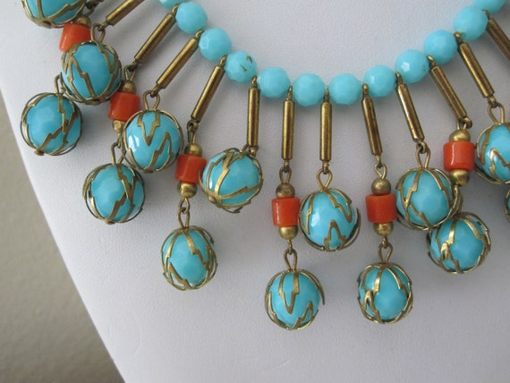 FABULOUS TURQUOISE PLASTIC Necklace & Earrings 194