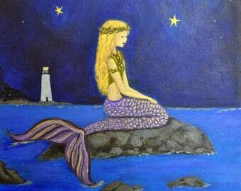 Mermaid Painting - Original Mermaid Painting - Mermaid and Lighthouse