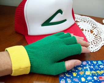 Adult - Teen  Pokemon Trainer Costume Set -- ASH KETCHUM  Cosplay  - Hat & Gloves - Made/ shipped in USA