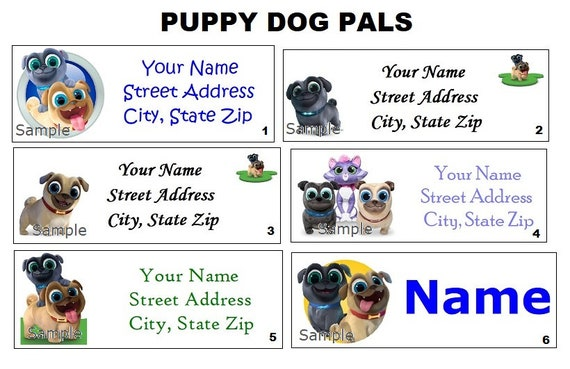 Cute Puppy Dog Pals Bingo Rolly Address Labels Party Name Etsy