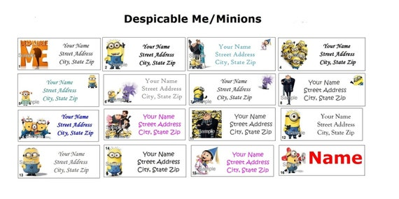 Cute Despicable Me Minions Return Address Party Name Etsy