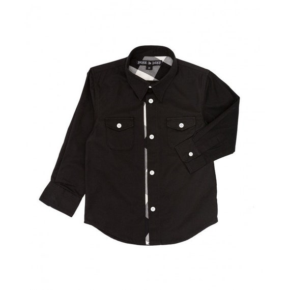 28ff65ee6d5a1 Boys Button Up Black Shirt 3T