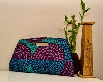 Pink, Royal Blue & Teal Ankara Clutch Purse