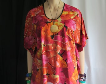 fedf97803157c Sunset Palms Hawaiian Polynesian Clothing Woman's Butterfly caftan,  Cover-up Shirt tunic travel - Made in Hawaii - Only Tangerine Trim left