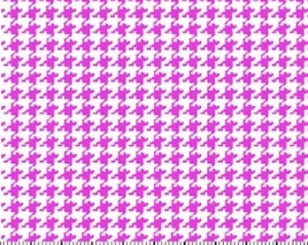 Shocking Pink Houndstooth Fabric --- Hot Pink Houndstooth --- 100 Percent Cotton --- Fabric By The Yard