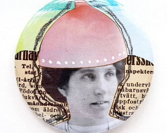 Button, pin, woman, portrait, button, collage, art badge, badge, wearable art, 2.2 inch, 56 mm