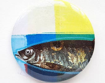 Button, pin, fish, button, collage, art badge, badge, wearable art, 2.2 inch, 56 mm