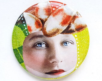 Quirky face, original art, candy corn, button, pin, collage, art badge, badge, wearable art, 2.2 inch, 56 mm